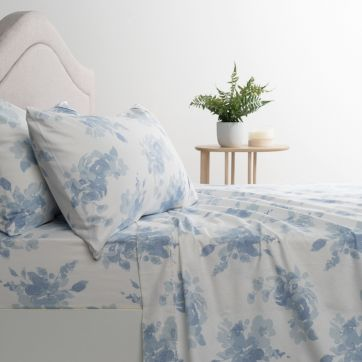 Flannelette Sheet Set Watery Florals-King Bed