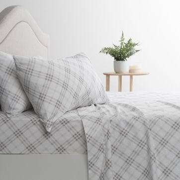 Flannelette Sheet Set Check Grey