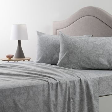 Flannelette Sheet Set Grey Scroll