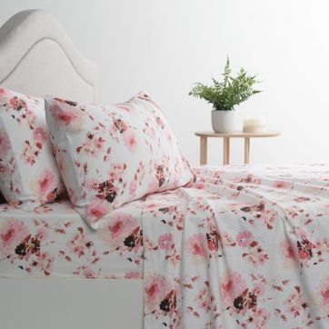 Flannelette Sheet Set Peonies