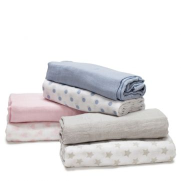 Bamboo Cotton Muslin Baby Wraps - 2pk blue pink silver grey with dots polka dots spots folded and stacked.