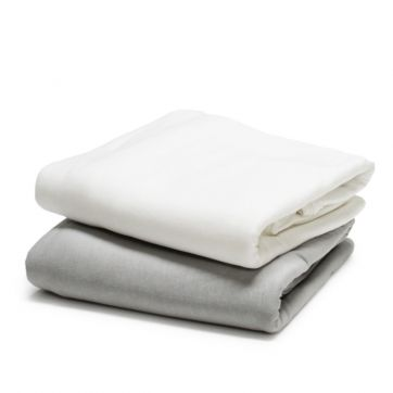 Bamboo Cotton Jersey Quilt Cover Set -for Cot size quilt white and silver grey folded.